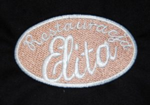 Logo Restauracji Elita wyhaftowane w owalnym kształcie